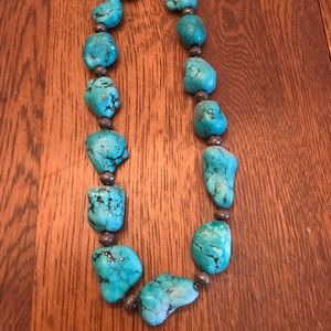 Turquoise nugget and silver bead necklace